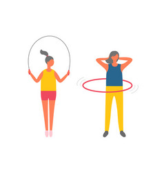 woman doing exercises fitness activities set vector image
