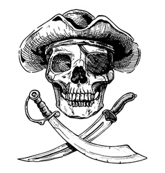 Black and white pirate skull with cross swords vector