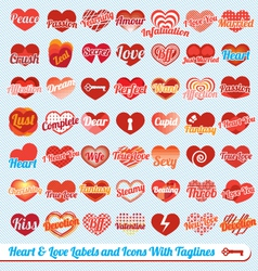 Hearts with Tag Lines Labels and Icons Collection vector image