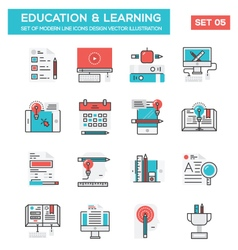 Modern Flat Line icon Concept of Education vector image vector image