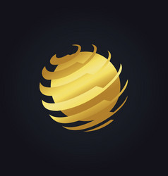 round global technology gold logo vector image vector image