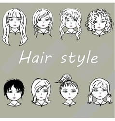 Set woman with beautiful hair style vector image vector image