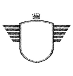 striped monochrome shield contour with crown vector image