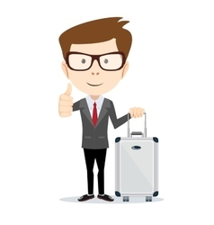 traveling man with suitcase vector image