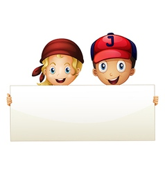 Two kids at the back of an empty signboard vector image