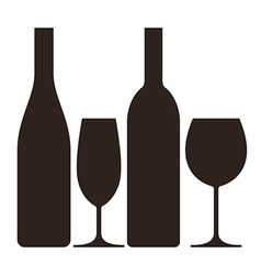 Bottles and glasses of wine and champagne vector image