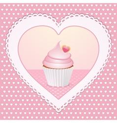 decorative cupcake love heart vector image vector image