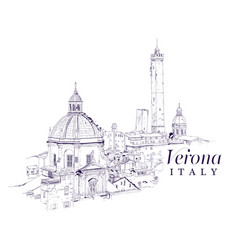 freehand digital drawing of verona italy vector image