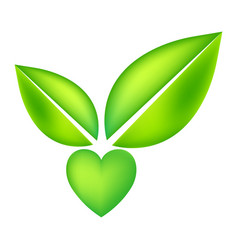 green icon with heart shape and two leaves vector image vector image