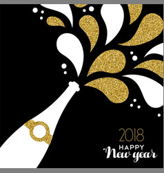 happy new year 2018 gold glitter bottle splash vector image vector image