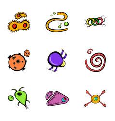 microorganism icons set cartoon style vector image