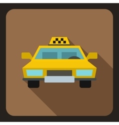Yellow taxi car icon flat style vector image