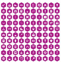 100 school years icons hexagon violet vector image