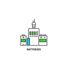 batteries recycle concept icon in line design vector image