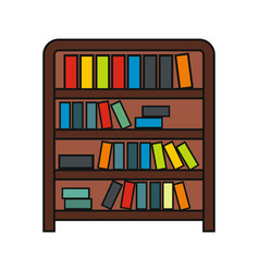 Book shelf cartoon icon isolated on a white vector