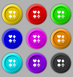 card suit Icon sign symbol on nine round colourful vector image