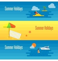Summer Holidays Banner with Beach Umbrella vector image