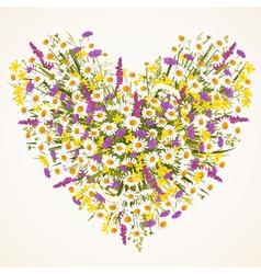 Wild flower heart vector image vector image