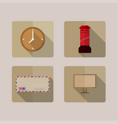 4 icons long shadow vector image