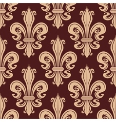 Brown and beige seamless fleur-de-lis pattern vector image vector image