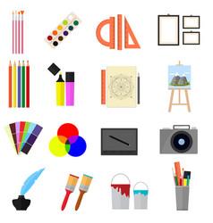 cartoon art color icons set vector image