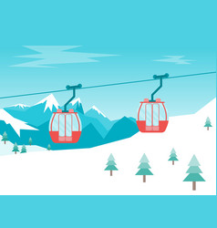 Cartoon car cabins cableway in mountains vector