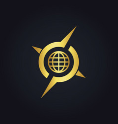 round globe arrow compass gold logo vector image vector image