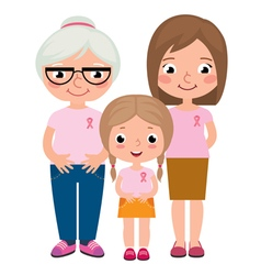 Women wearing pink ribbons for breast cancer vector image