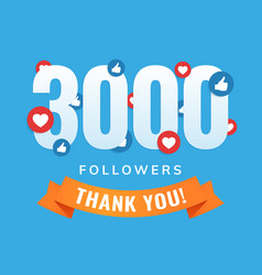 3000 followers social sites post greeting card vector image