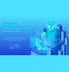 advanced marketing analysis web banner vector image
