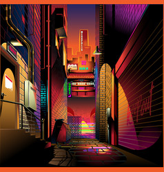 alley at sunset vector image