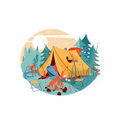 Attractive woman searching in hike tent near vector