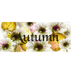 autumn flowers watercolor floral banner vector image