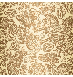 Baroque pattern with birds and flowers gold vector image