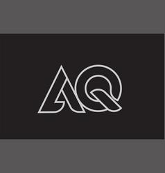 Black and white alphabet letter aq a q logo vector