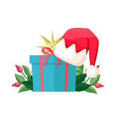 blue gift box isolated with santa hat on cover vector image