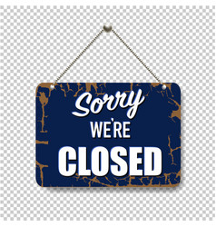 Blue sign closed isolated transparent background vector