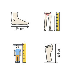 Body measurements rgb color icons set inside leg vector
