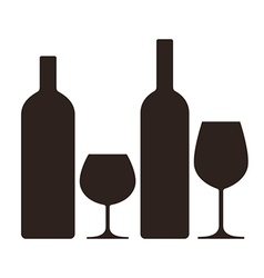bottles and glasses alcohol vector image