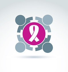 Breast cancer ribbon placed on a purple circle vector