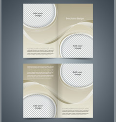 brown booklet template design with waves vector image