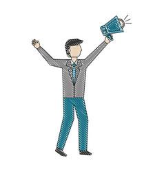 businessman holding megaphone advertising business vector image