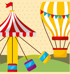 Carousel with seats and hot air balloon carnival vector