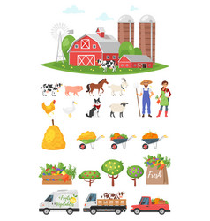 cartoon style farmers set vector image
