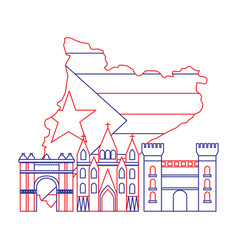 Catalonia barcelona with flag map and buildings vector