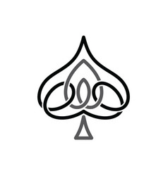 celtic ace of spade overlapped black abstract vector image