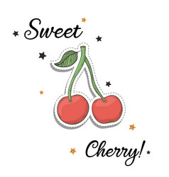 cherry sticker fashion patch element with quote vector image