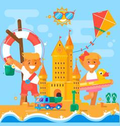 children s summer activities at beach flat vector image