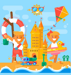 Children s summer activities at the beach flat vector