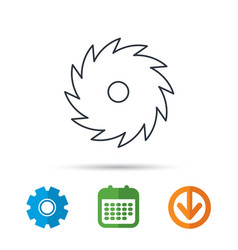 Circular saw icon cutting disk sign vector